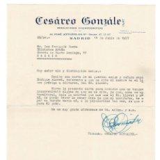 Documentos antiguos: MADRID 1957 CARTA ENVIADA POR EL EMPRESARIO CESÁREO GONZÁLEZ AL EDITOR BAEZA. . Lote 131693274