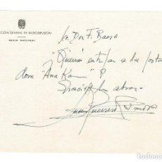 Documentos antiguos: CARTA SIN FECHA FIRMADA POR EL DIRECTOR DE RADIO NACIONAL JUAN GUERRERO ZAMORA. Lote 131694518