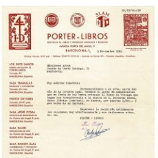 Documentos antiguos: BARCELONA 1962 CARTA DE PORTER LIBROS . Lote 131694606