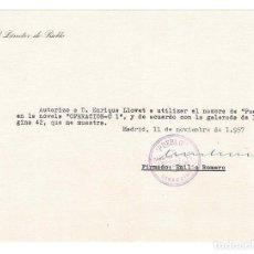 Documentos antiguos: MADRID 1957 CARTA DEL DIRECTOR DE PUEBLO EMILIO ROMERO A EDITOR BAEZA. Lote 131770322
