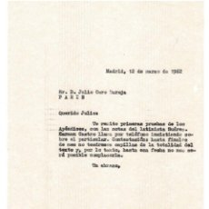 Documentos antiguos: MADRID 1962 COPIA CARTA ENVIADA A JULIO CARO BAROJA POR SU EDITOR BAEZA.. Lote 131786190