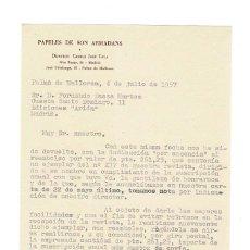 Documentos antiguos: PALMA DE MALLORCA 1957 PAPELES DE SON ARMADANS CARTA DEL ADMINISTRADOR DE CAMILO JOSÉ CELA A EDITOR. Lote 136596221