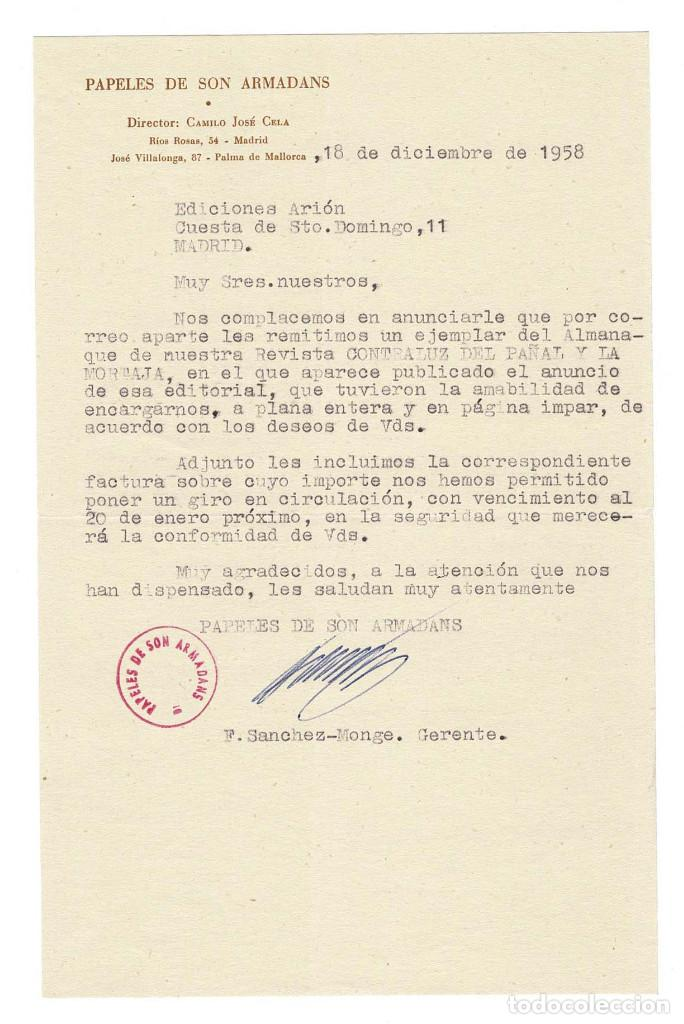 PALMA DE MALLORCA 1958 PAPOELES DE SON ARMADANS CARTA ENVIADA POR GERENTE A EDITOR. (Coleccionismo - Documentos - Otros documentos)