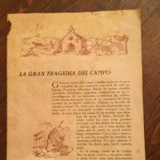 Documentos antiguos: ANTIGUO DOCUMENTO RELIGOSO LA GRAN TRAGEDIA DEL CAMPO AÑOS 20-30 . Lote 132166074
