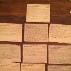 Documentos antiguos: ANTIGUOS 11 TARJETONES DEL MINISTERIO DE EDUCACIÓN NACIONAL CON DIFERENTES TEMAS AÑO 1938. Lote 132169194
