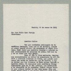 Documentos antiguos: MADRID 1962 COPIA DE CARTA ENVIADA A JULIO CARO BAROJA POR EDITOR BAEZA. Lote 132223330