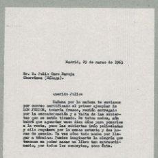 Documentos antiguos: MADRID 1963 COPIA DE CARTA ENVIADA A JULIO CARO BAROJA POR EDITOR BAEZA. . Lote 132223394