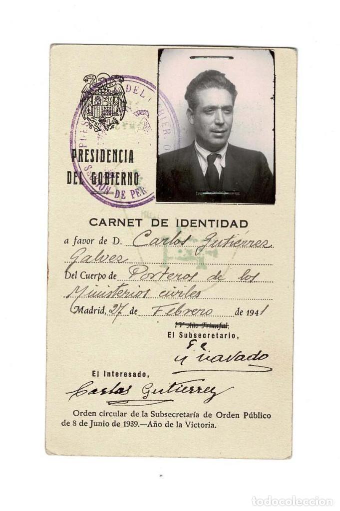 MADRID 1941 CARNET DE IDENTIDAD PRESIDENCIA DEL GOBIERNO. (Coleccionismo - Documentos - Otros documentos)