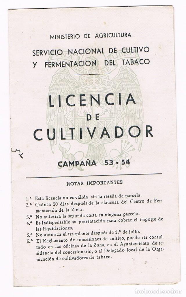 LICENCIA DEL CULTIVADOR 1953/54 VALENCIA - TABACO (Coleccionismo - Documentos - Otros documentos)