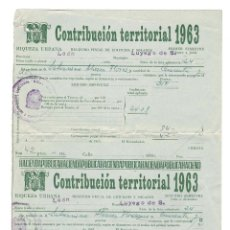Documentos antiguos: LUYEGO DE SOMOZA (LEÓN) 1963 CONTRIBUCIÓN TERRITORIAL.. Lote 132635990