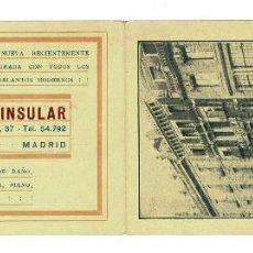 Documentos antiguos: MADRID C.1929 TARJETA PUBLICITARIA HOTEL PENINSULAR. CARRERA DE SAN JERÓNIMO,37.. Lote 132638306