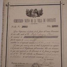 Documentos antiguos: NICHO CEMENTERIO NUEVO DE LA VILLA DE CONSTANTI (TARRAGONA) 1892. Lote 132666682