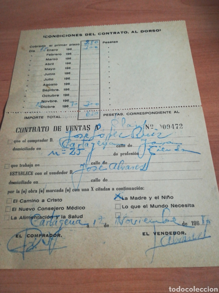 Documentos antiguos: Antiguo contrato compra venta años 60 - Foto 2 - 132724270