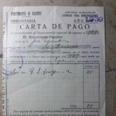 Documentos antiguos: AYUNTAMIENTO DE ALICANTE 1939. Lote 132741811