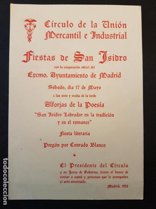 MADRID CIRCULO DE LA UNION MERCANTIL E INDUSTRIAL PROGRAMA FIESTAS SAN ISIDRO 1952 (Coleccionismo - Documentos - Otros documentos)