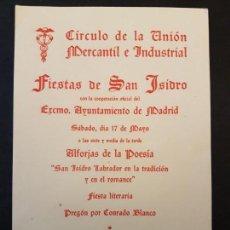 Documentos antiguos: MADRID CIRCULO DE LA UNION MERCANTIL E INDUSTRIAL PROGRAMA FIESTAS SAN ISIDRO 1952. Lote 132765278