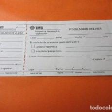 Documentos antiguos: IMPRESO AUTOBUSES DE BARCELONA REGULACION DE LA LINEA. Lote 132833594