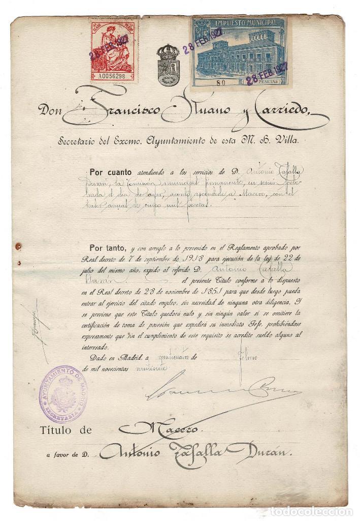 MADRID 1927 AYUNTAMIENTO DE MADRID. NOMBRAMIENTO DE MACERO. SELLO FISCAL 10 PTAS. (Coleccionismo - Documentos - Otros documentos)