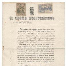 Documentos antiguos: MADRID 1918 Y 1919 AYUNTAMIENTO DE MADRID.NOMBRAMIENTO PORTERO. DOS SELLOS FISCALES 10 PTAS. Y 5 PTA. Lote 132841738