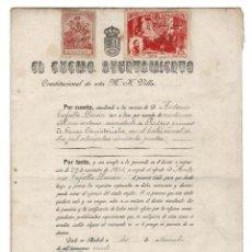 Documentos antiguos: MADRID 1920 AYUNTAMIENTO DE MADRID.NOMBRAMIENTO PORTERO PRIMERO. SELLO FISCAL 10 PTAS.. Lote 132841886