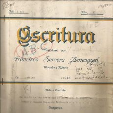 Documentos antiguos: DOCUMENTO ESCRITURA PARTICION DE HERENCIA COSTITX 1935 MALLORCA. Lote 132981622