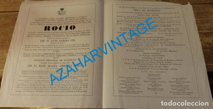 Documentos antiguos: SEVILLA, 1955, CONVOCATORIA DE CULTOS HERMANDAD DEL ROCIO DE TRIANA - Foto 2 - 132991862