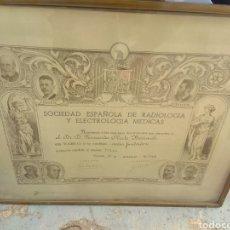 Documentos antiguos: TÍTULO SOCIEDAD ESPAÑOLA DE RADIOLOGÍA Y ELECTROLOGIA MÉDICAS - 1946 MADRID - VOLTA - MARIE CURIE. Lote 133002858