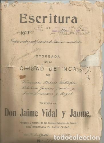 DOCUMENTO ESCRITURA COMPRAVENTA LICENCIA MARITAL SENCELLES 1929 MANUSCRITO MALLORCA (Coleccionismo - Documentos - Otros documentos)