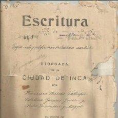 Documentos antiguos: DOCUMENTO ESCRITURA COMPRAVENTA LICENCIA MARITAL SENCELLES 1929 MANUSCRITO MALLORCA. Lote 133018722