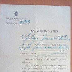 Documentos antiguos: SALVOCONDUCTO SANTANDER. AÑO 1940.. Lote 133088682