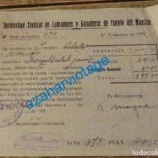 Documentos antiguos: FUENTE DEL MAESTRE, 1954, RECIBO HERMANDAD SINDICAL DE LABRADORES Y GANADEROS. Lote 133094094