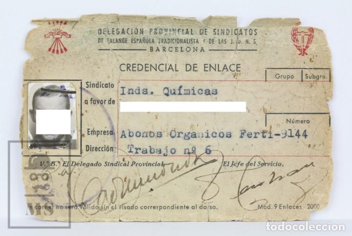 Credencial de Enlace - Sindicato Industrias Químicas - Abonos Orgánicos Ferti - Falange / Años 40 segunda mano