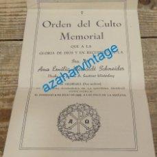 Documentos antiguos: IGLESIA EVANGELICA, 1950, ORDEN DEL CULTO MEMORIAL. Lote 133241190