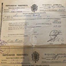 Documentos antiguos: LOTE CONTRIBUCIÓN TERRITORIAL RIQUEZA URBANA 1927-1942. Lote 133399326