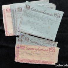 Documentos antiguos: 24 PAPELETAS DE CONTRIBUCIÓN TERRITORIAL. AÑO 1958. BELLPUIG. LLEIDA. Lote 133414226
