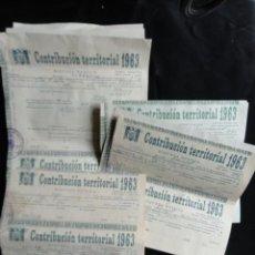Documentos antiguos: 21 PAPELETAS DE CONTRIBUCIÓN TERRITORIAL. AÑO 1963. AGRAMUNT. LLEIDA. Lote 133414414