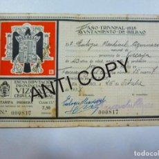 Documentos antiguos: CEDULA PERSONAL DIPUTACION PROVINCIAL DE VIZCAYA AÑO 1938. Lote 133434098