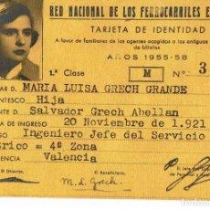Documentos antiguos: RENFE.TARJETA DE IDENTIDAD. AÑO 1955 - 1958. Lote 133450470