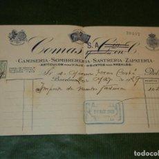 Documentos antiguos: RECIBO SASTRERIA COMAS S.A., BARCELONA 1929. Lote 133479998