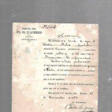 Documentos antiguos: CUBA. CHINO. CERTIFICADO DE DEFUNCIÓN TUBERCULOSIS PULMONAR. 1889. Lote 133517310