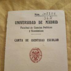 Documentos antiguos: CARNET UNIVERSIDAD MADRID 1953. Lote 133613753