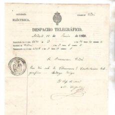 Documentos antiguos: DESPACHO TELEGRÁFICO. TRANSMITIDO EN MADRID. RECIBIDO EN CÁDIZ. BENSUSAN. 1860. Lote 133704102