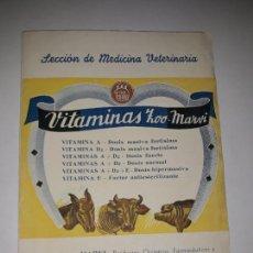 Documentos antiguos: VITAMINAS ZOO MARVI. SECCION DE MEDICINA VETERAINARIA. Lote 134222118