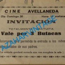 Documentos antiguos: LAS PALMAS DE GRAN CANARIA, ANTIGUO VALE 3 BUTACAS, CINE AVELLANEDA. Lote 134226522