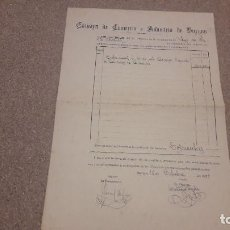 Documentos antiguos: ANTIGUA RECIBO DE LA CÁMARA DE COMERCIO E INDUSTRIA DE BURGOS...1929 ... Lote 134284670