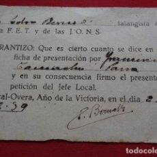 Documentos antiguos: HUERCAL OVERA. ALMERÍA. FET Y JONS. FALANGE. 1939.. Lote 134311170