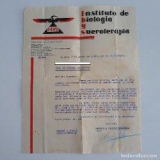 Documentos antiguos: CARTA INSTITUTO DE BIOLOGIA Y SUEROTERAPIA. IBYS. OSSA DE MONTIEL ALBACETE. 1939. Lote 134311246