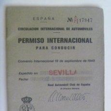 Documentos antiguos: PERMISO INTERNACIONAL PARA CONDUCIR. SEVILLA, 1979. Lote 134770482