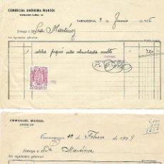 Documentos antiguos: TARRAGONA - FACTURA COMERCIAL ANÓNIMA MARSOL AÑO 1956 - FRA. EMMANUEL MARSOL AÑO 1929 - VER FOTOS. Lote 134871466