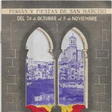 Documentos antiguos: GERONA .- PROGRAMA DE FIESTAS DE SAN NARCISO 1952. Lote 134900806